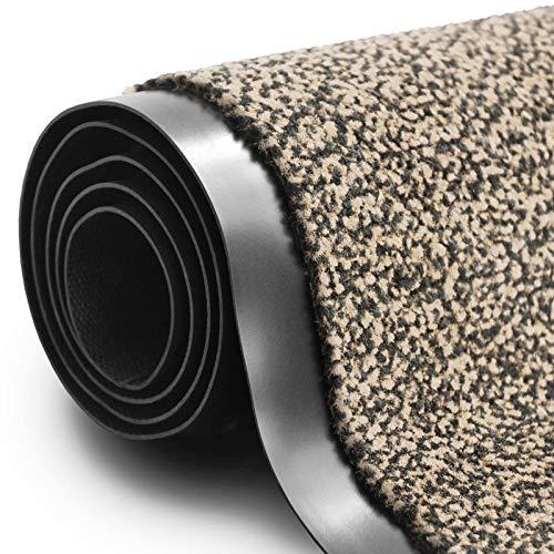 Paillasson casa pura tapis polypropylène | Stop l'électrité stastique (certifié EPH) | absorbant | lavable machine | nombreuses tailles et couleurs | beige chiné, 60x90cm