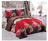 21Fashion 3D Bettbezug Spannbetttuch mit Kissen Fall Blumenmuster Bettwäsche Komplett Set Double Size Judy Print Double Size