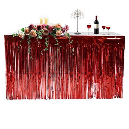 Yangge Metallic Fringe Foil Table Rock Tinsel Tabelle Vorhang für Luau Party-Geburtstags-Sommer-Jahrestag Weihnachten Tischdekoration (Fringe Tabelle Röcke)