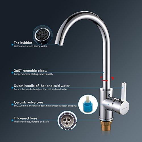 Auralum® 2 Jahre Garantie Niederdruck Mischbatterie mit Groß C Form 360° Drehbar Armatur Wasserhahn Küchearmatur Einhandmischer für Spüle Küche - 3