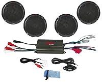 Pyle PLMRKT4B 800W 4 Channel Waterproof Micro Marine Amplifier and 6.5 inch Speaker System
