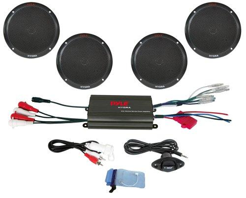 Pyle 4-Kanal 800 Watt Wasserdicht Micro Marine-Verstärker & 6,5-Zoll-Lautsprechersystem
