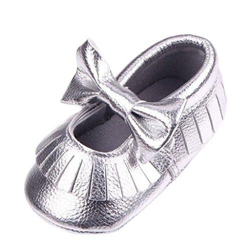 Baby Quaste Weiche Lederschuhe Lauflernschuhe Krabbelschuhe Babyschuhe Bowknot Dekor - Gold, 12 silber