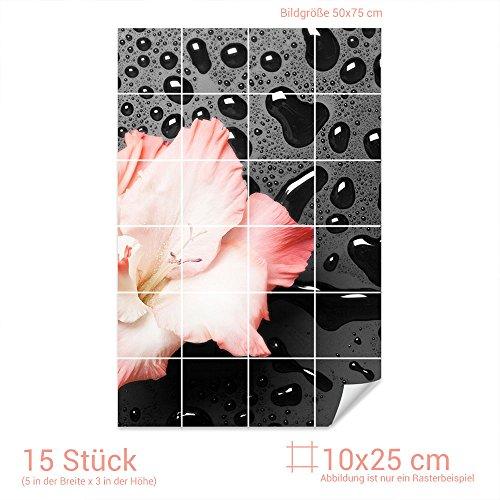 Graz Design 761539_10x25_50 Fliesenaufkleber Lilien-Blüte/Schiefer für Kacheln | Wand-Deko für Bad/Küchen-Fliesen (Fliesenmaß: 10x25cm (BxH)//Bild: 50x75cm (BxH))