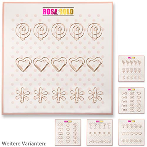 AUSVERKAUF - Rosa&Gold 15er Set Deko Büroklammern - 5x Spirale, 5x Herz, 5x Blume (Set4 Rosegold)