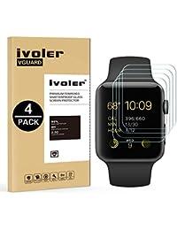 [4-Unidades] Protector de Pantalla Apple Watch 38mm Series 1 / Series 2 / Series 3, iVoler Cristal Vidrio Templado Premium para Apple Watch 38mm Series 1 2015 / Series 2 2016 / Series 3 2017 [9H Dureza] [Alta Definicion 0.2mm] [2.5D Round Edge]