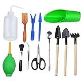 welinks 13Teile Mini Garten-Werkzeuge Sets, Miniatur-Pflanzen Gartengeräte für vollmundigen Umpflanzen klein Blume Pflanzen, innen Fairy Garden Care Kits