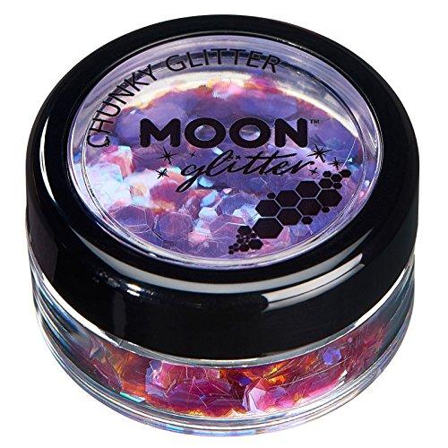 Paillettes rondes irisées par Moon Glitter (Paillette Lune) - 100% de paillettes cosmétique pour le visage, le corps, les ongles, les cheveux et les lèvres - 3g - Violet