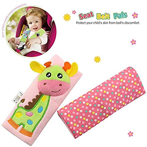 TOLOLO Kids Infant Cartoon Animal Soft Safety Belt Cover Seat Strap Cover Shoulder Pad Cushion (Giraffe)