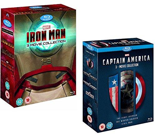 Iron Man 1-3 (komplettes Sammelbox-Set) - Captain America 1-3 (Komplettes Sammelbox-Set) - Marvel 6 Movie Bundling Blu-ray
