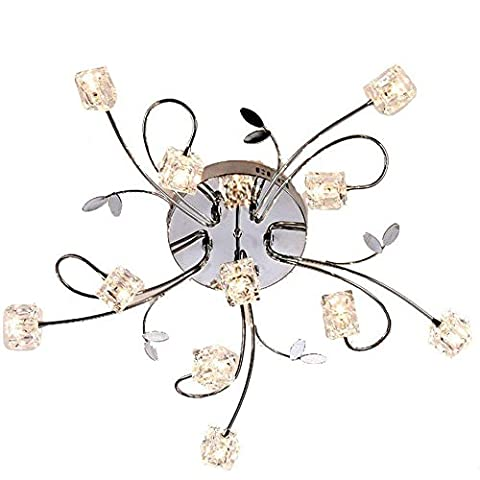 Flush Mount Modern Dimmable Ceiling Chandelier Lighting with 11 Lights