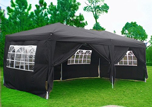 Qulista Carpa Pabellón Plegable 3x3 / 3x6 / 2.5x2.5 / 3x3M Tienda de campaña Impermeable Cenador Gazebo con Ventanas para Fiestas Tiendas Eventos Boda o Picnic (Pabellón: 3 x 6 x 3.3 M, Negro)