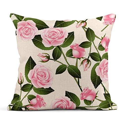 Elfenbein-wurfs-kissen (Kinhevao Wurfs-Kissen-grünes abstraktes schönes rosa Rose Rosa auf beige Elfenbein Valentine Day Yellow America Linen Cushion Home Decorative Pillow)