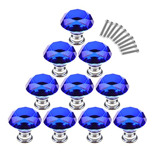 Doorknobs, Foxom 10PCS diametro 40mm Crystal Glass Diamond Shape cabinet cassettiera manopola maniglia porta con viti, Dark Blue, 40*21*31mm - Maniglia Blue Door