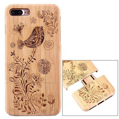 iPhone Case Cover Pour iPhone 7 Plus Séparable Carving Pissenlit Motif Carbon Bamboo Coque arrière de protection ( SKU : Ip7p1447f ) Ip7p1447b