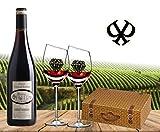 100% Frankreich | Wunderschönes Premium Rotwein-Set | Cabernet Sauvignon aus dem Languedoc Bordeaux| mit 2 Original geschrägten Rotwein-Gläsern in der exklusiven Geschenkverpackung Weidenkorb| Authentisch mit Henkel | französischer Prestige-Wein für Kenner | perfekt zum Geburtstag Sommer-party und jeder Feier