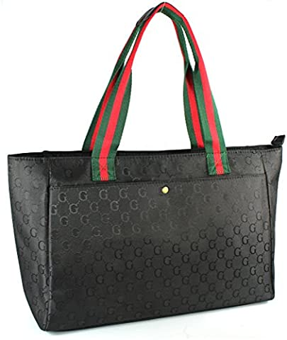 Designer Inspired Monogram Shopper Bags / Totes (Black)