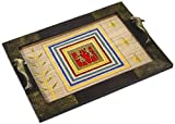 Aapno Rajasthan Hand Painted Wooden Tray with Dhokra Work