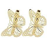 Pinzhi2Pcs Frauen-goldenes Schmetterlings Haar Klipp Kopfstück Barrettes