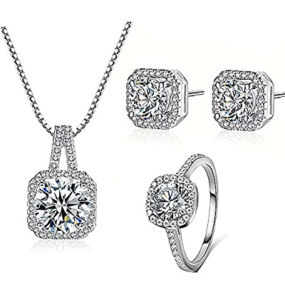 Majesto - 925 Silver Plated Necklace Pendant Halo Cushion Cut Bridal Engagement Jewelry Set For Women Gift from Majesto Jewellery