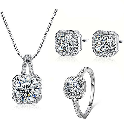 Majesto - 925 Silver Necklace Earrings Halo Cushion Cut Ring Size 7 Bridal Engagement Jewelry Set For Women Prime Gift