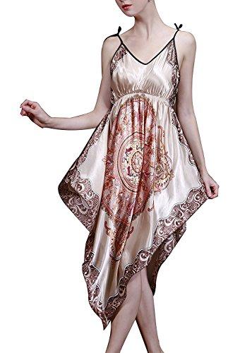 BigForest Damen BOHO Strap Satin Silk lang Negligee Pajama Nachtkleid Verstellbar Schlafanzug (Empire Nightgown)