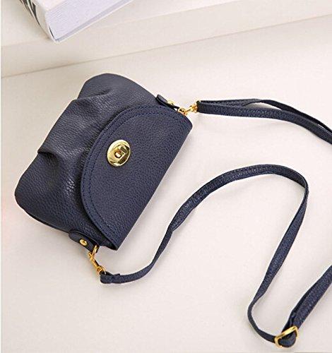 DELEY Frauen Vintage Europa Stil Mini Hobo Tote Handtasche Schultertasche Umhängetasche Blau