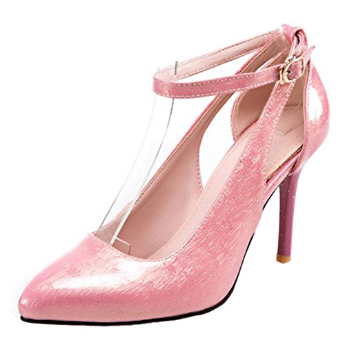 TAOFFEN Damen Süß Stiletto High Heel Party Pumps Mit Schnalle Pink