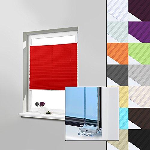 Rot Rollos (Easyfix Jalousien blickdicht PLISSEE ohne Bohren, zum Kleben innenrahmen (Rot, 60 x 120cm) / Sonnenschutzrollo Verspannt / PLISSEE-ROLLO Farbe & Größe wählbar / Faltrollo Sonnen- und Sichtschutz)