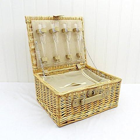 Bentley–Cesta de mimbre para picnic con integrado refrigerador y copas de champán para 4