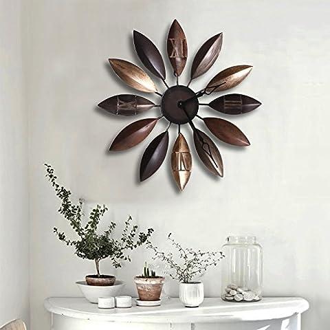 SUNSPJ Personalidad creativa Arte hierro Retro Relojes de pared para hogar Salón habitaciones amuebladas elegantemente y