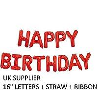 "DecorativeConceptsUK RED Happy Birthday Set 16"" - 13 Letters + Ribbon - NEW"