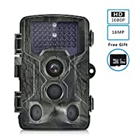 LLQ Trail Game Camera, 16MP 1080P Wildlife Camera Waterproof Hunting Motion Activated Night Vision 65ft 120° Wide Angle Night Vision for Wildlife Hunting and Home Security, Including 32GB SD Card