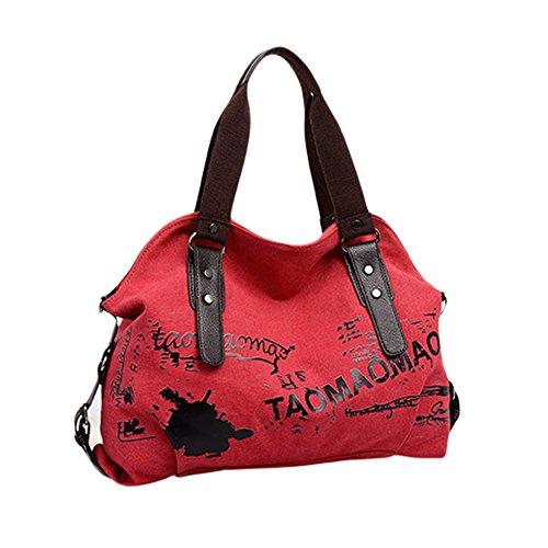 Damen Graffiti Schulterbeutel Vintage umhängetasche Handtaschen Mädchen Retro Schultasche Alltagstasche Frau Messenger Bag Rot Braun Blau (Messenger Retro Rote Bag)