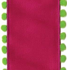 caspari schleifenband mit draht und pompons pink gr n. Black Bedroom Furniture Sets. Home Design Ideas