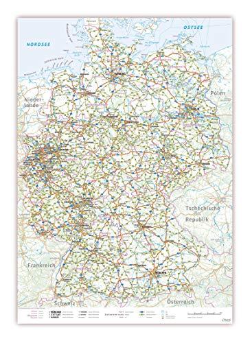 XXL Deutschlandkarte Topografisch 100 x 70cm, nass abwischbar, Landkarte Poster mit einseitiger Folienkaschierung Lieferung gerollt! (K704ab)
