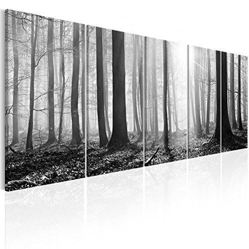 murando Bilder Wald 200x80 cm - Leinwandbilder - Fertig Aufgespannt - 5 Teilig - Wandbilder XXL - Kunstdrucke - Wandbild - Waldlandschaft Natur Wald Panorama Baum c-B-0285-b-m