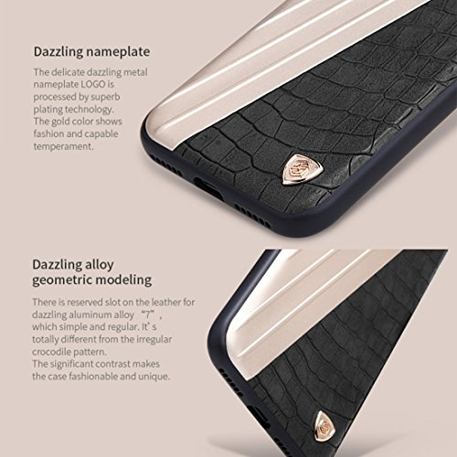 iPhone Case Cover NILLKIN étui hybride pour iPhone 7 rétro style crocodile texture cuir + créatif 7 en métal surface métallique PC étui de protection arrière avec cadre souple TPU ( Color : White ) Black
