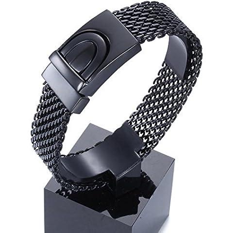 YSM Gioielli Uomo Fashion Design Mesh braccialetto Bracciale in acciaio 220 millimetri (nero)