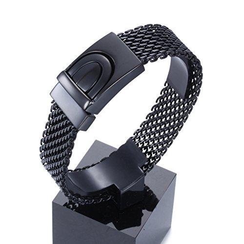 YSM Edelstahlarmband 220mm Ineinander greifen-Armband Design, Mode, Herrenschmuck (Schwarz)