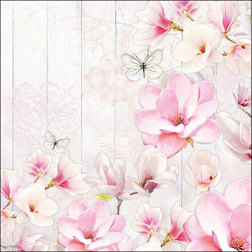 20 Servietten Magnolien auf Holz als Tischdeko für den Frühling und Ostern mit Blumen 33x33cm -