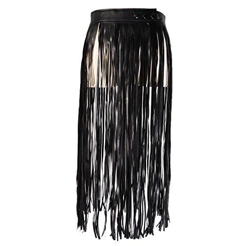 Sharplace Boho PU Leder Lange Wrap Taille-Gürtel mit Fransen Rock Gürtel -Schwarz -