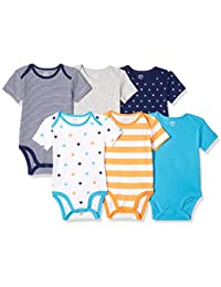 Amazon Essentials 6-Pack Short-Sleeve Bodysuit Unisex-Bimbi 0-24