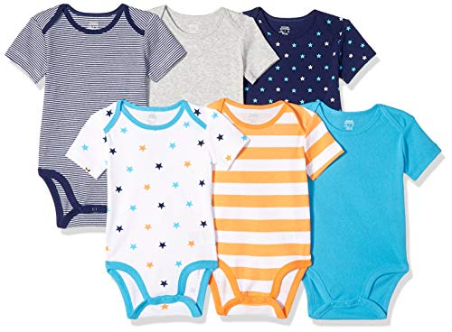Amazon Essentials 6-Pack Short-Sleeve Bodysuit infant-and-toddler-layette-sets, Uni Star...