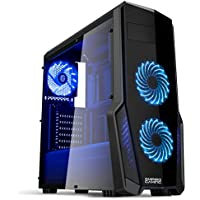 Empire Gaming - Case PC Gaming WarFare Nero LED Blu: USB 3.0 e 3 Ventole LED 120 mm, parete laterale trasparente affumicato - ATX / mATX / mITX