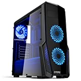 Empire Gaming - Caja PC para juegos WarFare negra LED azul: USB 3.0, 3 ventiladores LED 120 mm, pared lateral ahumado transparente - ATX/mATX/mITX