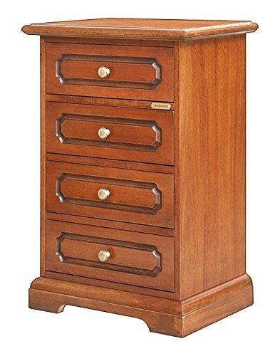 Comodino in legno essenziale linea classica quattro cassetti