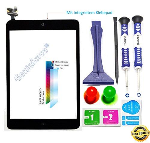 Komplett✔ Touchscreen Glas Digitizer für Apple iPad Mini 1st Generation, iPad Mini 2 Display, Komplett mit Flexkabel, IC-Chip und Homebutton - Schwarz inkl. Best NANO Profi 8-in-1 Werkzeugset - SCHWARZ BLACK - NEU