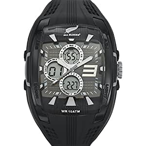 All Blacks - 680048 - Montre Homme - Quartz Analogique - Digital - Cadran Noir - Bracelet Silicone Noir