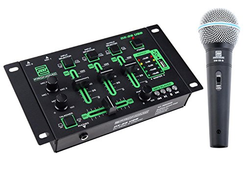 Pronomic DX-26 USB DJ-Mixer SET inkl. Mikrofon + 2,5m Kabel (Mikrofon Dj)